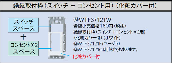 WTF37121F パナソニック ベージュ 絶縁取付枠 (スイッチ+コンセント×2用) (化粧カバー付)